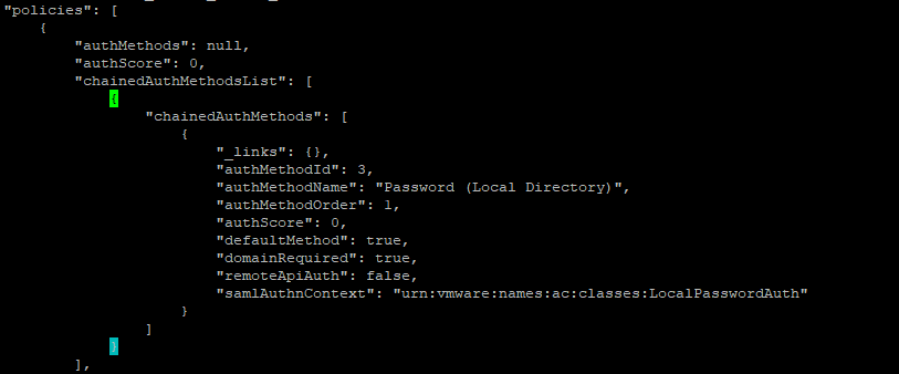 vRA Local Authentication access policies