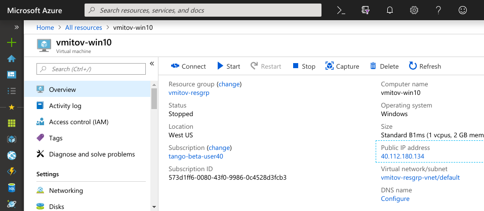 Azure instance state