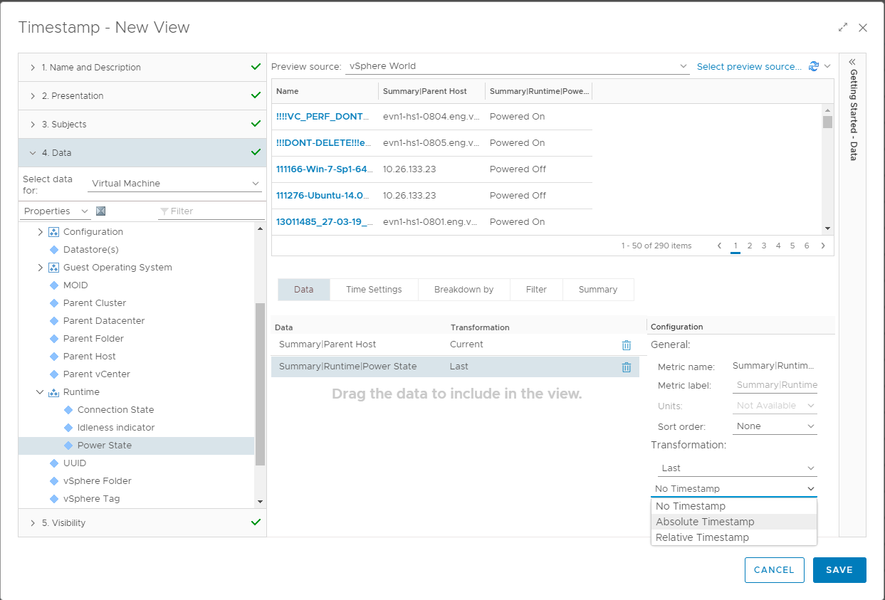 vRealize Operations views reports