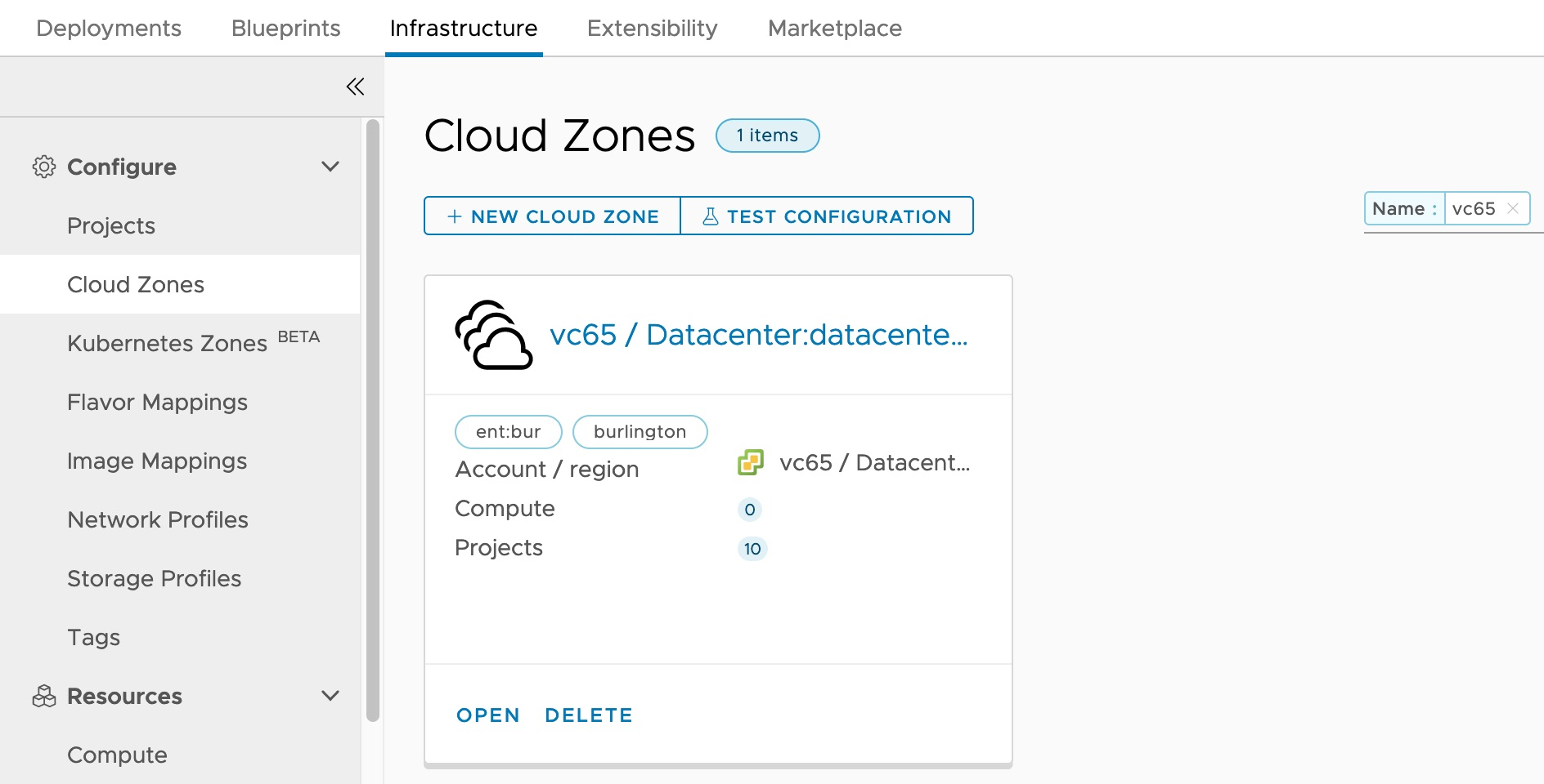 Cloud Zone for vCenter Datacenter