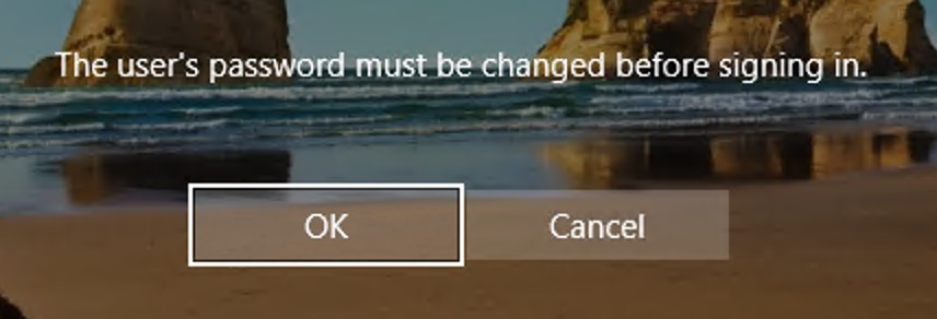 User's password must be changed