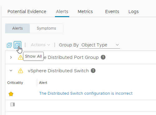 Restore all related object alerts to the list with Show All