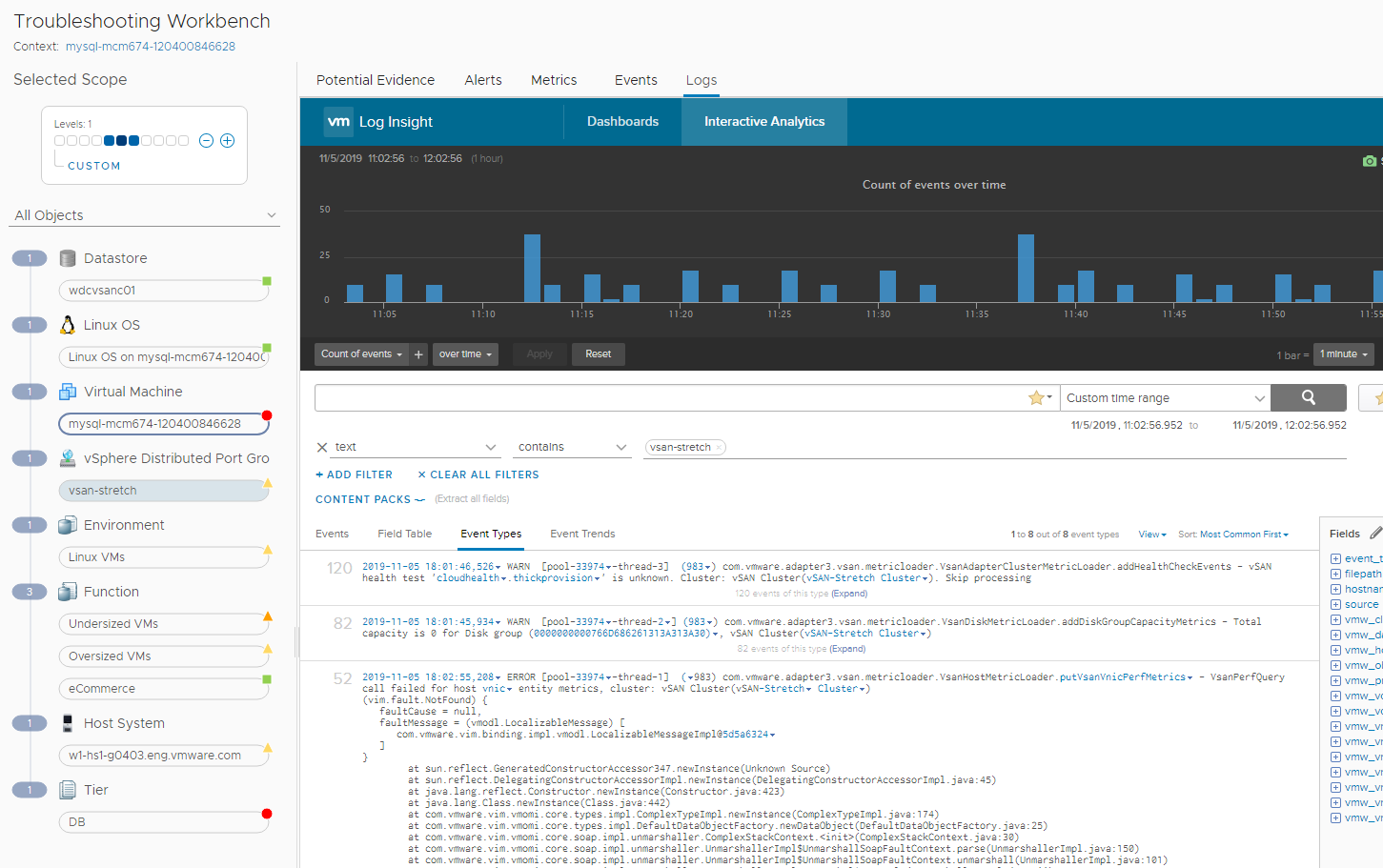 Using vRealize Log Insight for troubleshooting.