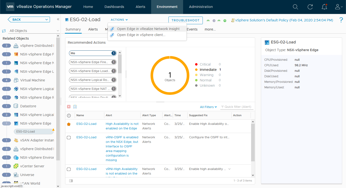 A launch in context action for an NSX-vSphere edge.