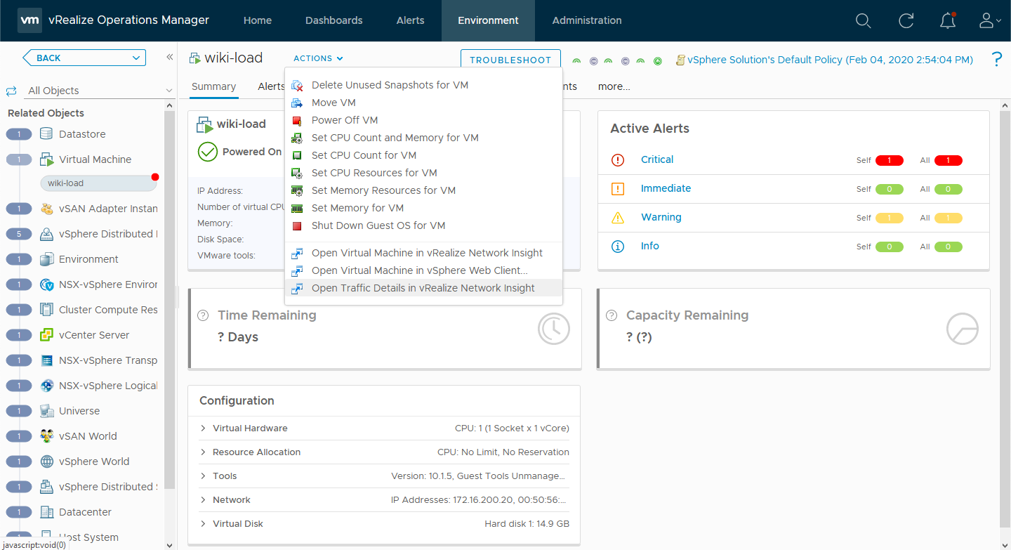 Additional launch in context option for vRealize Network Insight Cloud Traffic Details for a VM.