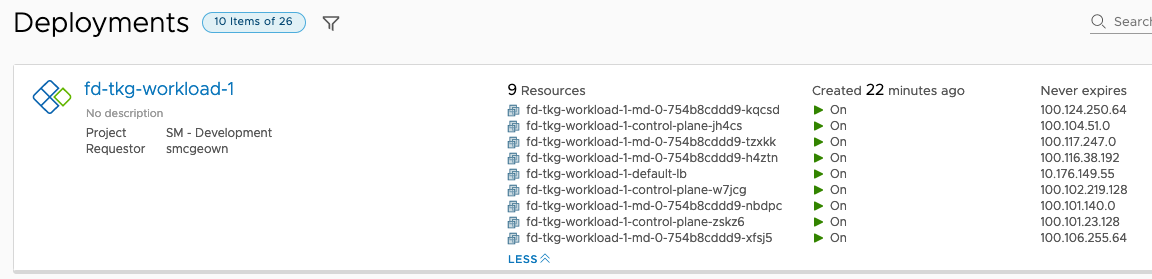 Deployment of Tanzu Kubernetes Grid cluster through vRealize Automation 8.1