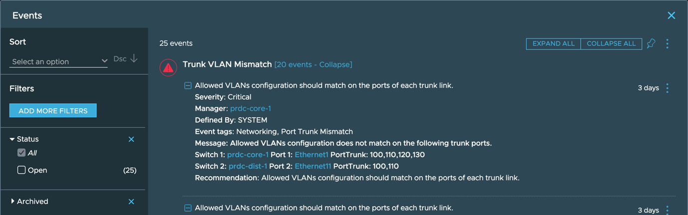 Trunk VLAN Mismatch event