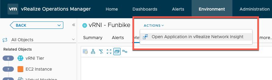 Launch the vRNI Applicaton Dashboard