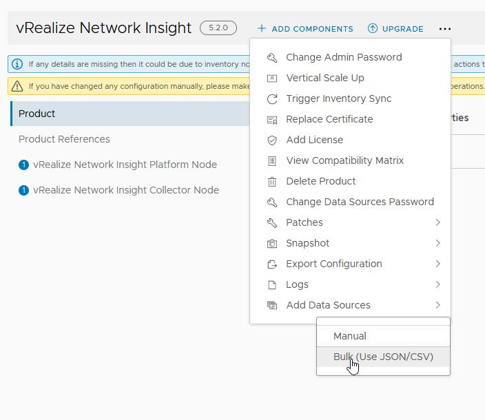 "New ""Bulk Load"" of vRNI data sources in vRSLCM 8.2."