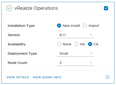 New Continuous Availability option for vRealize Operations clusters.