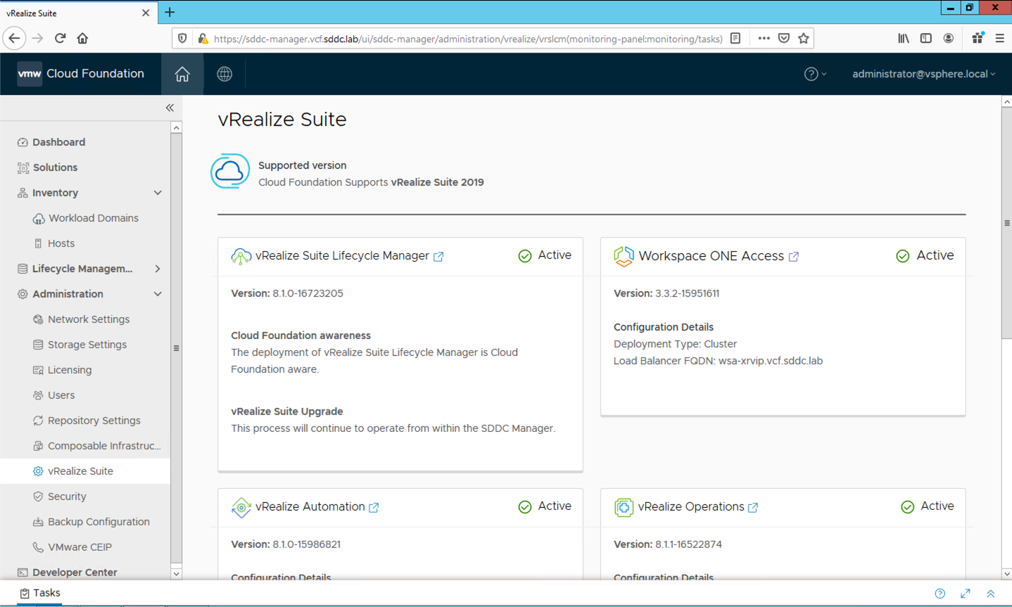 SDDC Manager deploys vRealize Suite Lifecycle Manager and has awareness of vRealize products installed. Screenshot courtesy of Heath Johnson.