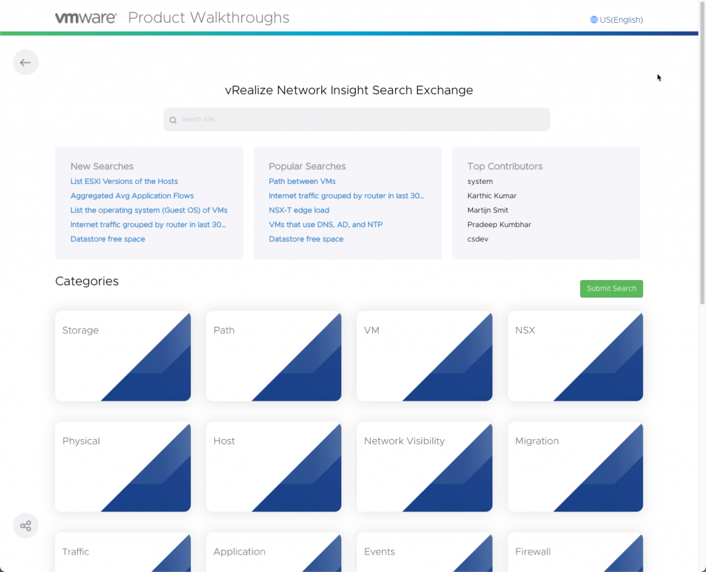 vRealize Network Insight Search Exchange
