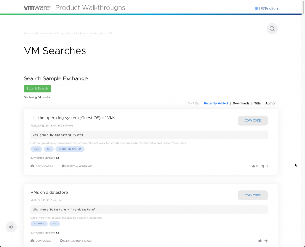 vRealize Network Insight Search Exchange - List of searches
