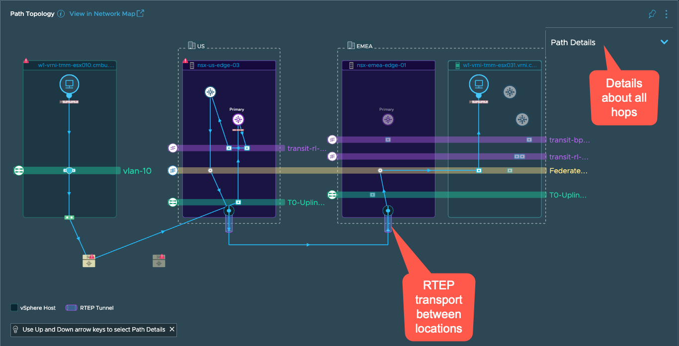 NSX-T Federation Topology in vRealize Network Insight