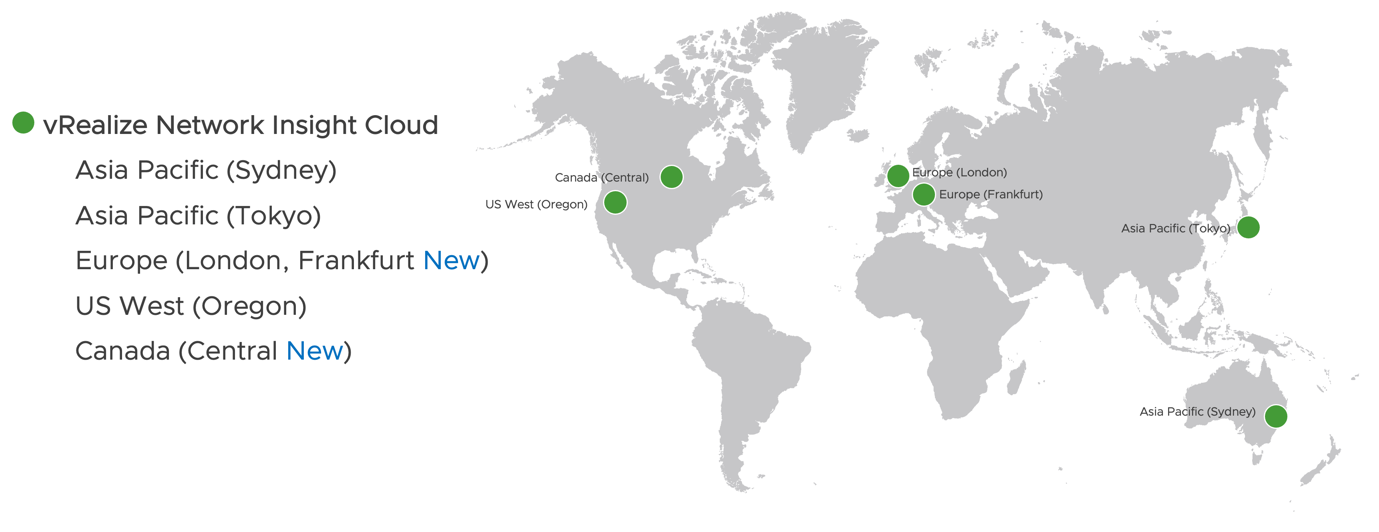 vRealize Network Insight Cloud Availability Map