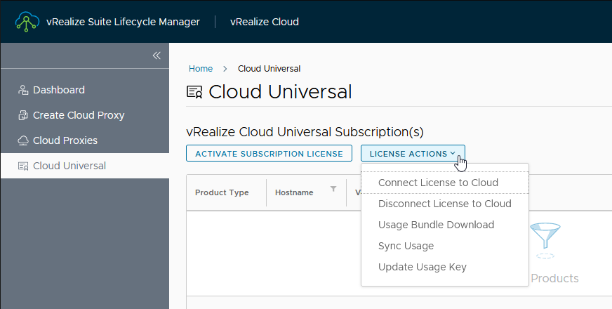 vRealize Cloud Universal subscription management in vRealize Suite Lifecycle Manager 8.6