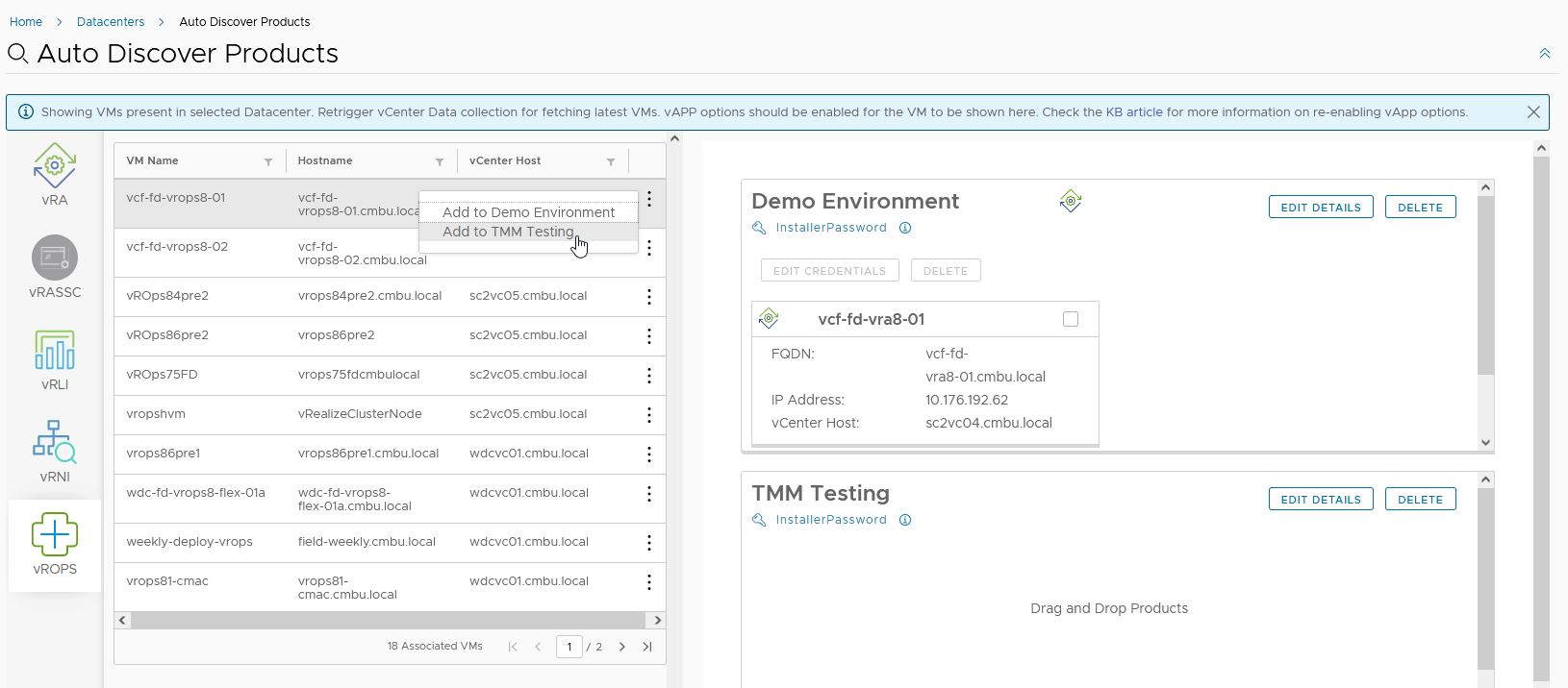 Add to existing environments or create new environments, just provide the passwords required and vRealize Suite Lifecycle Manager 8.6 will import the products quickly