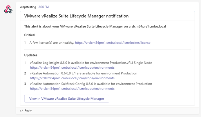 Notifications combined into a single message in vRealize Suite Lifecycle Manager 8.6