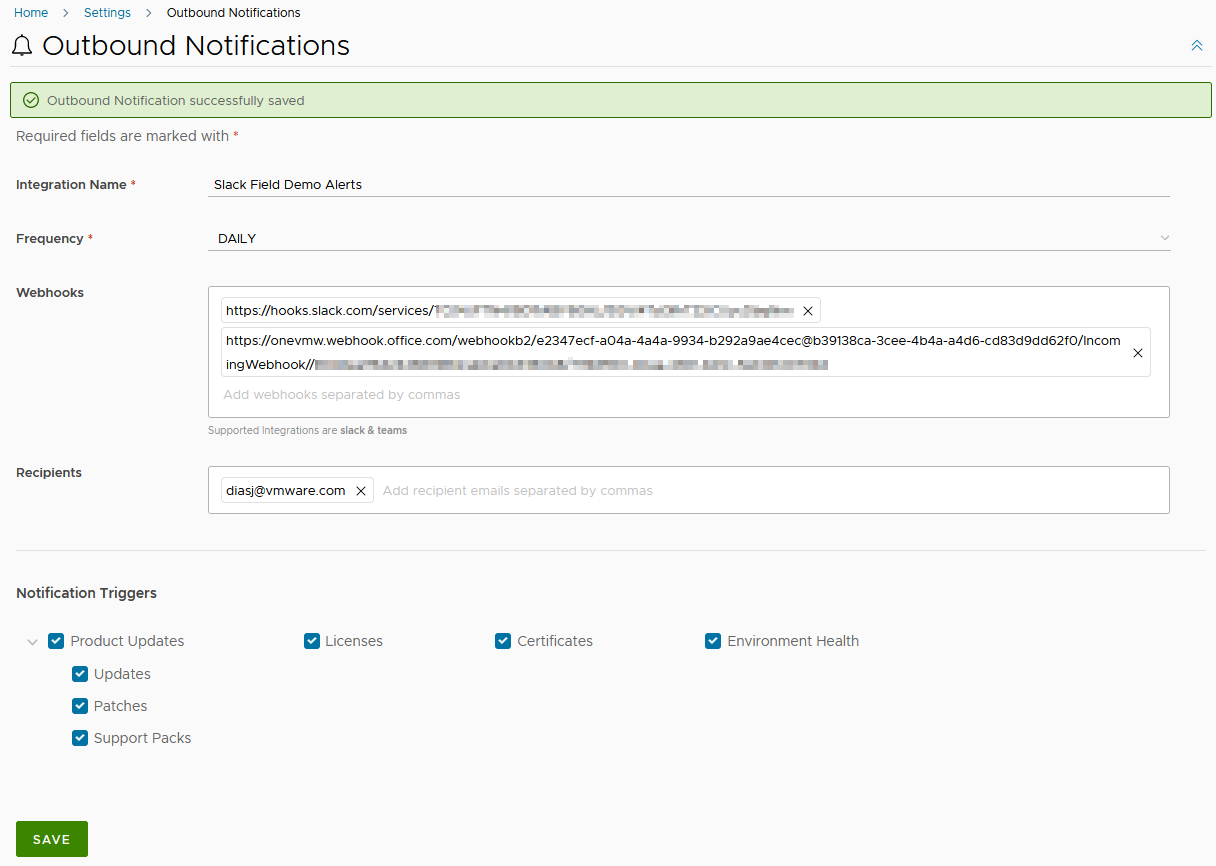 Setting up Outbound Notifications for Slack, Teams and email in vRealize Suite Lifecycle Manager 8.6